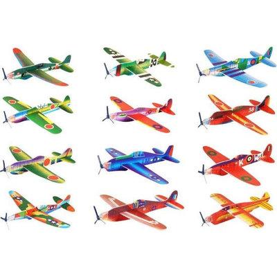 Decopatent 48 Stuks - Uitdeelcadeautjes - Fighter Gliders vliegtuig - Zweefvliegtuigen - Model: Foam Vliegtuigen in Display