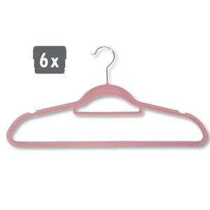 Kesper 6 STUKS Klerenhangers | Gemaakt van plastic met Broekspijp houder, 45 cm breed | Met Antislip | Broeklat | Kunststof klerenhanger | Kleur: ROSE / PINK | PAK VAN 6 STUKS