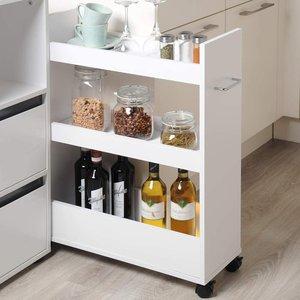 Kesper Smalle Keuken Trolley | Verrijdbare Ruimtebesparende Keuken kast | Serveer / Opslag kast met wielen voor in de keuken | Voor opslag van bv: kruiden, azijn, olie, voorraadpotten, bekers etc. |  Afm. 22 x 79 x 60 Cm. | Kleur: WIT