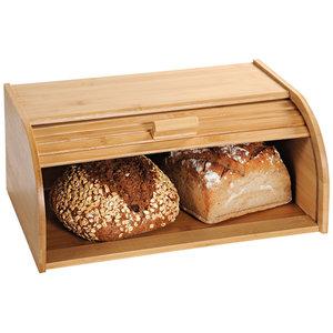 Kesper Broodtrommel met rolluik - FSC® Bamboe houten brooddoos met Schuifdeksel - Broodtrommel - Brood bewaren en vers houden