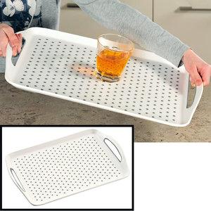 Kesper Dienblad Rechthoekig - Anti-slip Dienblad - Diep dienblad met antislip - Met handvatten - 45.5 x 32 x 4.5 Cm - Kleur: Wit