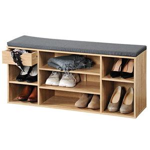 Kesper Schoenenbank - 10 paar schoenen met Zitkussen & Opbergvakken + Opberglade - Open Schoenenkast - FSC® hout - Afm 101 x 29 x 48