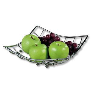 Kesper Fruitschaal Vierkant - Schaal voor fruit - Design Fruitmand - Metaal - Afm: 26 x 24 x 9.5 Cm - Zilver kleurig