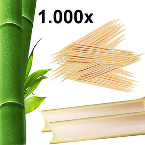 Kesper 1.000 Stuks - FSC® Berken houten Tandenstokers - Dubbelzijdige Tandenstokers hout - Tandestoker Dun 65 MM - Voordeelverpakking
