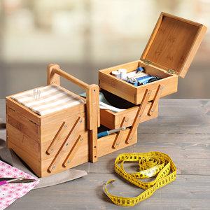 Kesper FSC® Bamboe houten Naaikist - Naaidoos opbergbox 5 vakken - Naaibox met Handvat - Compact uitklapbaar - Naaigarnituur Naaikoffer