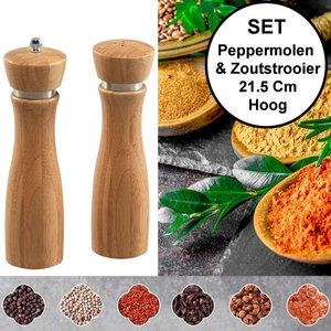 Kesper 2-Delige SET Pepermolen & Zoutstrooier - FSC® Bamboe hout - Ø6 Hoogte 21.5 Cm - Zout strooier en peper molen - Keramisch maalwerk