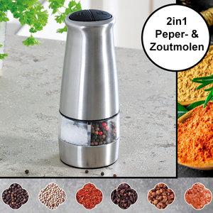 Kesper Elektrische 2in1 Zout & Pepermolen - RVS - Ø6.5 Hoogte: 17.5 Cm - Zoutmolen & Pepermolen in 1 - Koffie /Peper/Zout/ Kruiden molen