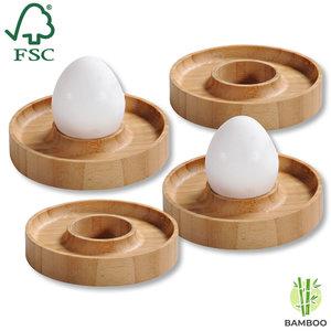 Kesper FSC® Bamboe houten - Eierdopjes set van 4 Stuks - Met praktische rand voor neerleggen van de eierschaal - Eierdoppen Set 4-Delig