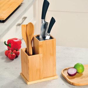 Kesper FSC® Bamboe houten - Messenblok zonder messen - Messenhouder met vak keukengerei houder - Messenblok Universeel - 18.5x12.7x24 Cm