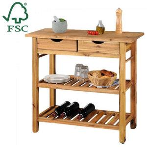 Kesper FSC® Acazia houten Keukentrolley - 2 laags Legplanken en met 2 Schuiflade's - Keukenkast- Bijzettafel - Keuken kast- 90x40x85 Cm
