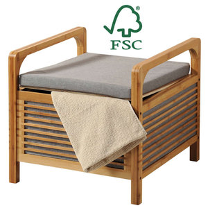 Kesper FSC® Bamboe houten - Hocker met Opbergruimte en Zitkussen - Poef Zithocker - Bank Hocker bankje - Afmetingen: 50 x 49 x 47 Cm