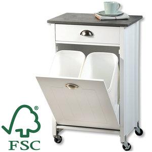 Kesper FSC® Mdf houten Keukentrolley - Met 2 Prullenbakken & 1 Schuiflade - Keukenkast - Bijzettafel - Keuken kast trolley - 50x37x79 Cm