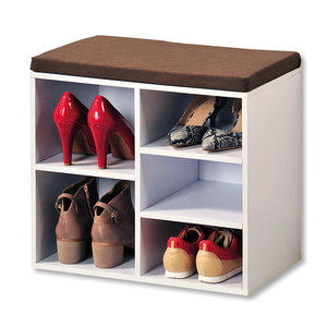 Kesper Schoenenbank - 5 paar schoenen met Zitkussen & Opbergvakken - Open Schoenenkast - FSC® hout - Afm 51.5 x 29.5 x 48 Cm - Wit