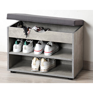 Kesper Schoenenbank met opbergruimte - 6 paar schoenen met Zitkussen & Opbergvakken - Open Schoenenkast - FSC® hout - 60x30x47 Cm - Grijs