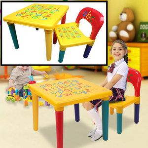 Decopatent Decopatent® ABC Alfabet Kindertafel met Stoel - Speeltafel - Kindertafel en stoeltjes - 1x Tafel en 1x Stoel voor kinderen