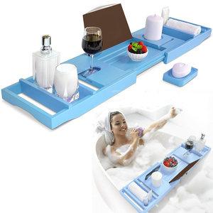 Decopatent Decopatent® Badrek - Badplank voor in bad - Uitschuifbaar 75 - 110 Cm - Badrekje voor Bad - Bamboe - Verstelbaar Badrek - Blauw