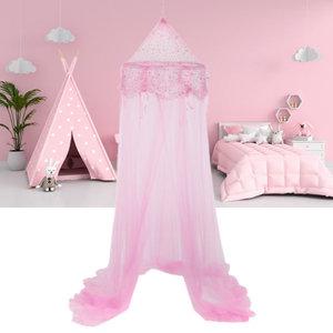 Decopatent Decopatent® Prinsessen Klamboe kinderkamer - Klamboe Baby kamer - Klamboe 1 persoons - Voor boven bed - Roze - 60 x 60 x 250 Cm