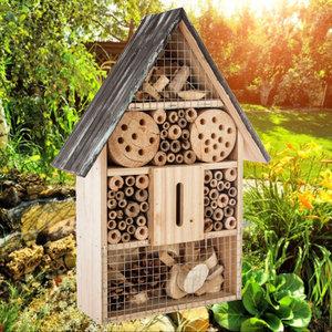 Decopatent Decopatent® Insectenhotel - Bamboe hout - Insecten hotel - Insecten huis - Natuur & Milieu vriendelijk - Afm 26 x 10.3 x 37.6 Cm