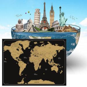 Decopatent Decopatent® Kras wereldkaart XL Deluxe - Scratch map wereldkaart - Muur Scratchmap - Scratch art wereld kaart - 82 x 59 Cm - Zwart