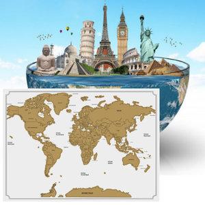 Decopatent Decopatent® Kras wereldkaart XL Deluxe - Scratch map wereldkaart - Muur Scratchmap - Scratch art wereld kaart - 82 x 59 Cm - Wit