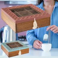 Decopatent Decopatent® Theedoos 9 vaks - Terracotta Design theedoos met doorzichtig venster - Mdf Hout - 9 vakken theekist - Blauw OF Roze