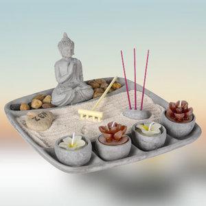 Decopatent Decopatent® Zen Wierrookhouders Boeddha - Wierrook houder plateau - Om wierrook stokjes in te zetten - Wierrook brander - Plankje