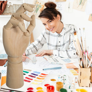 Decopatent Decopatent® Tekenhand - Houten Hand model - Handen Tekenmodel  - Ledepop Tekenen - Teken hand voor Volwassenen & Kinderen - 28.5Cm