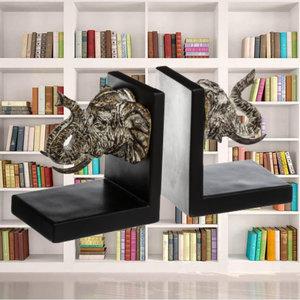 Decopatent Decopatent® Luxe boekenstandaard met Olifanten koppen- Boekenhouder voor boekenkast - Book holder - 2-Delige Boekensteunen Olifant