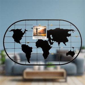 Decopatent Decopatent® Wereld Foto wandrek - Foto Frame - Met gouden clip om foto's optehangen - Industrieel - Wanddecoratie - Metaal - Zwart