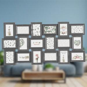Decopatent Decopatent® XL Fotolijst Collage voor 18 Foto's van 10x15 & 15x10 Cm - Fotolijsten - Fotolijstje met 18 fotokaders - 102.2x52.5 Cm