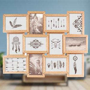 Decopatent Decopatent® MDF Fotolijst Collage voor 12 Foto's van 15x10 & 10x15 Cm - Fotolijsten - Fotolijstje met 12 fotokaders - 59.5x3x45.5