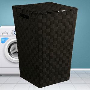 Decopatent Decopatent® Wasmanden met deksel -  60 Liter - Geweven wasmand - Wasbox met optil deksel - Polypropyleen - Afm 33x33x53 Cm - Zwart