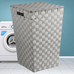 Decopatent Decopatent® Wasmanden met deksel -  60 Liter - Geweven wasmand - Wasbox met optil deksel - Polypropyleen - Afm 33x33x53 Cm - Grijs