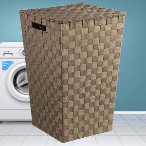 Decopatent Decopatent® Wasmanden met deksel -  60 Liter - Geweven wasmand - Wasbox met optil deksel - Polypropyleen - Afm 33x33x53 Cm - Taupe