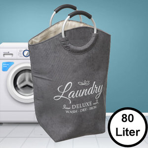 Decopatent Decopatent® XL Wasmand 80L - Tekst Deluxe Laundry -> Wash Dry Iron - Waszak met handvat - Grote Badkamer Wasmand - Fluweel Grijs