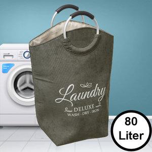 Decopatent Decopatent® XL Wasmand 80L - Tekst Deluxe Laundry -> Wash Dry Iron - Waszak met handvat - Grote Badkamer Wasmand - Fluweel Kaki