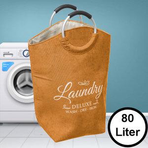 Decopatent Decopatent® XL Wasmand 80L - Tekst Deluxe Laundry -> Wash Dry Iron - Waszak met handvat - Grote Badkamer Wasmand - Fluweel Geel