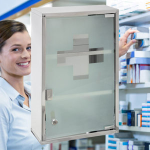 Decopatent Decopatent® XL Medicijnkastje RVS - Slot - 2x Sleutels - Transparante deur - Medicijnkast - Medicijnbox - Medicijndoos 30x12x45 Cm