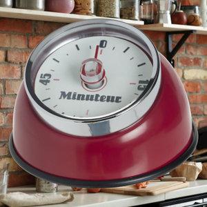 Decopatent Decopatent® Kookwekker analoog - Kookwekker magnetisch - Rond - Rvs - Kook wekker met magneet - Ronde 60 minuten Kook Timer - Rood