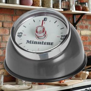 Decopatent Decopatent® Kookwekker analoog - Kookwekker magnetisch - Rond - Rvs - Kook wekker met magneet - Ronde 60 minuten Kook Timer - Grijs