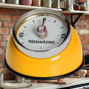 Decopatent Decopatent® Kookwekker analoog - Kookwekker magnetisch - Rond - Rvs - Kook wekker met magneet - Ronde 60 minuten Kook Timer - Geel