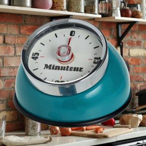 Decopatent Decopatent® Kookwekker analoog - Kookwekker magnetisch - Rond - Kook wekker met magneet - Ronde 60 minuten Kook Timer - Turquoise Blauw