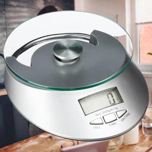 Decopatent Decopatent® Keukenweegschaal digitaal - Weegschaal keuken digitaal - Metaal met Glas - op batterijen - 5 Gr tot 5 Kg - 16x20x4 Cm