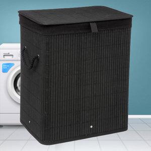 Decopatent Decopatent® Grote Bamboe Wasmand met deksel - 60 L - Wasmand 1 Vak met stoffen waszak - Opvouwbaar - Wassorteerder - Zwart
