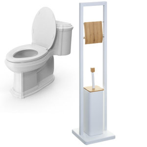 Decopatent Decopatent® 2in1 Toiletrolhouder staand & Toiletborstel met houder- Staande Wc Rolhouder - Toilet rolhouder - Bamboe Metaal - Wit
