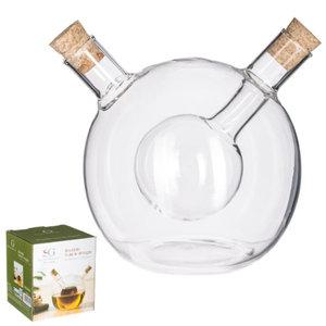 Decopatent Decopatent® 2in1 Olie en Azijnstel glas - Bolvorm met kurken - Glazen Azijnfles & Oliefles in 1 - Oil and Vinegar - 11.5x11.5x12.5