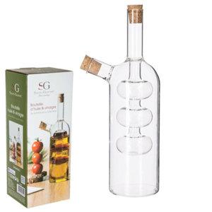 Decopatent Decopatent® 2in1 Olie en Azijnstel glas - Bolvorm met kurken - Glazen Azijnfles & Oliefles in 1 - Oil and Vinegar - 9 x 9 x 21 Cm