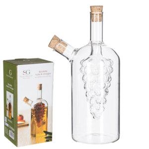 Decopatent Decopatent® 2in1 Olie en Azijnstel glas - Druif vorm met kurken - Glazen Azijnfles & Oliefles in 1 - Oil & Vinegar - 10 x 10 x 18