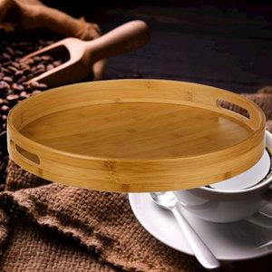 Decopatent Decopatent® Houten Dienblad Rond - Ø40 Cm - Rond Koffie / Thee dienblad - Dienblad met handvatten - Bamboe hout - 40 x 40 x 5 Cm