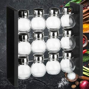 Decopatent Decopatent® Staand Kruidenrekje voor 12 kruidenpotjes - Specerijen rek - Mdf hout - Potjes Glas - 3 laags keuken kruiden organizer